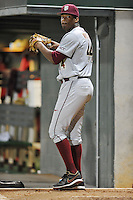 Florida State Seminoles pitcher Jameis Winston #44 throws in the bullpen during a game against the Clemson Tigers at Doug Kingsmore Stadium on March 22, 2014 in Clemson, South Carolina. The Seminoles defeated the Tigers 4-3. (Tony Farlow/Four Seam Images)