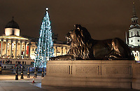 London - Trafalgar Square with it's Christmas tree all lit for the festive season,  London. December 7th 2012.2012..Photo by Keith Mayhew