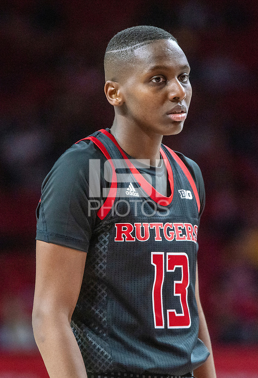 COLLEGE PARK, MD - FEBRUARY 9: Mael Gilles #13 of Rutgers during a pause in play during a game between Rutgers and Maryland at Xfinity Center on February 9, 2020 in College Park, Maryland.