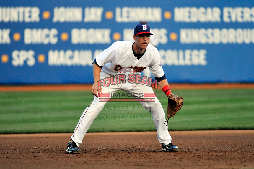 Brooklyn Cyclones infielder Brian Harrison (9) during game against the Auburn Doubledays at MCU Park in Brooklyn, NY July 13, 2011. Doubledays won 9-3.  Photo By Tomasso DeRosa/ Four Seam Images