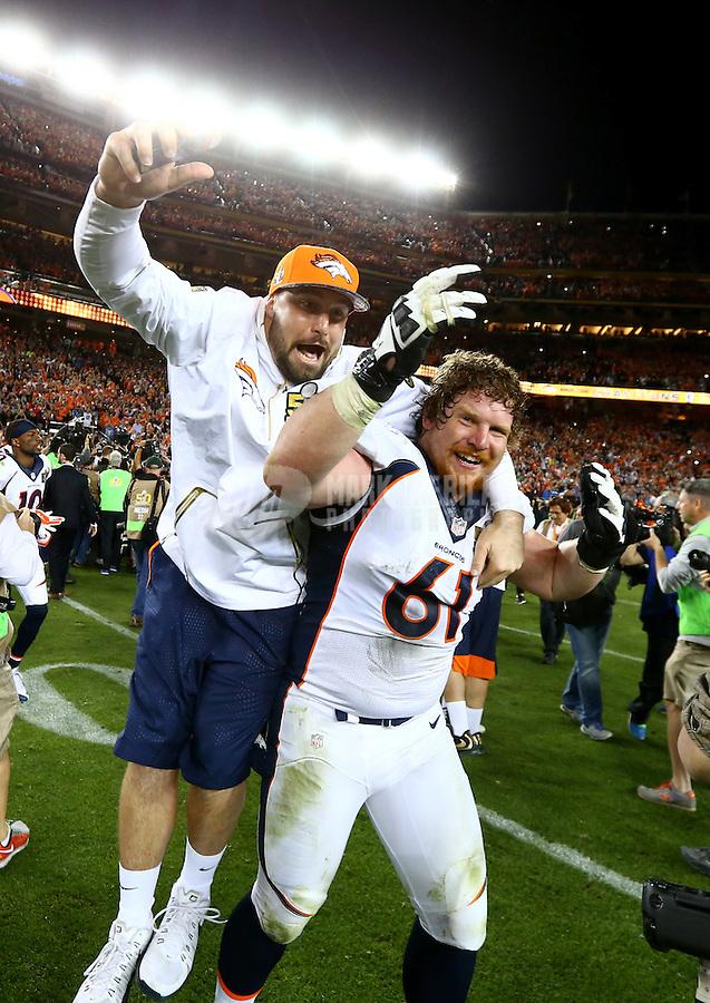 Feb 7, 2016; Santa Clara, CA, USA; Denver Broncos center Matt Paradis (61) celebrates with a teammate after defeating the Carolina Panthers in Super Bowl 50 at Levi's Stadium. Mandatory Credit: Mark J. Rebilas-USA TODAY Sports