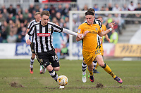 Elliott Hewitt of Notts County and Tom Owen-Evans of Newport County during the Sky Bet League 2 match between Newport County and Notts County at Rodney Parade, Newport, Wales on 6 May 2017. Photo by Mark  Hawkins / PRiME Media Images.