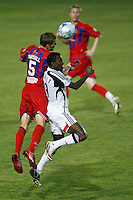 """Crystal Palace defender Andrew Marshall (5) and New England Revolution forward Abdoulie """"Kenny"""" Mansally (29). The New England Revolution (MLS) defeated Crystal Palace FC USA of Baltimore (USL2) 5-3 in penalty kicks after finishing regulation and overtime tied at 1-1 during a Lamar Hunt US Open Cup quarterfinal match at Veterans Stadium in New Britain, CT, on July 8, 2008."""