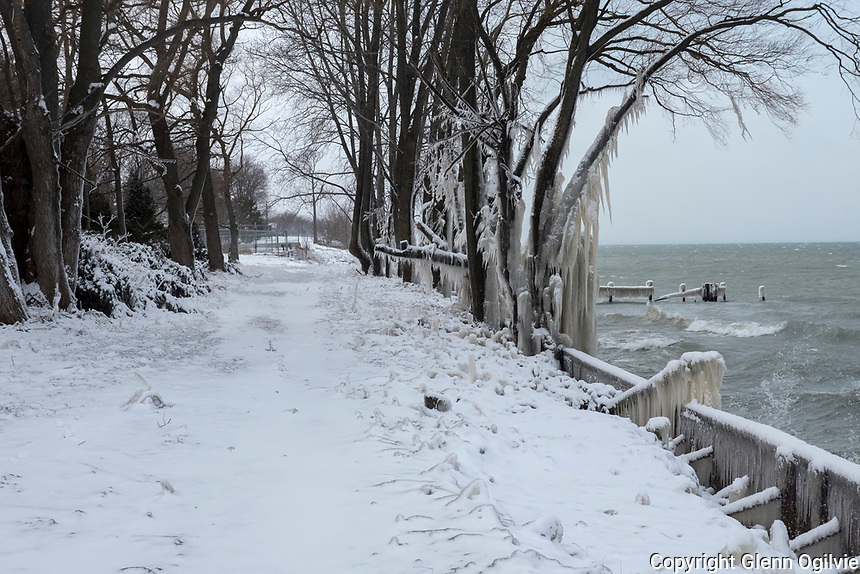 Storm and ice damage to shoreline east of the Cull Drain Bridge to Mike Weir Park.