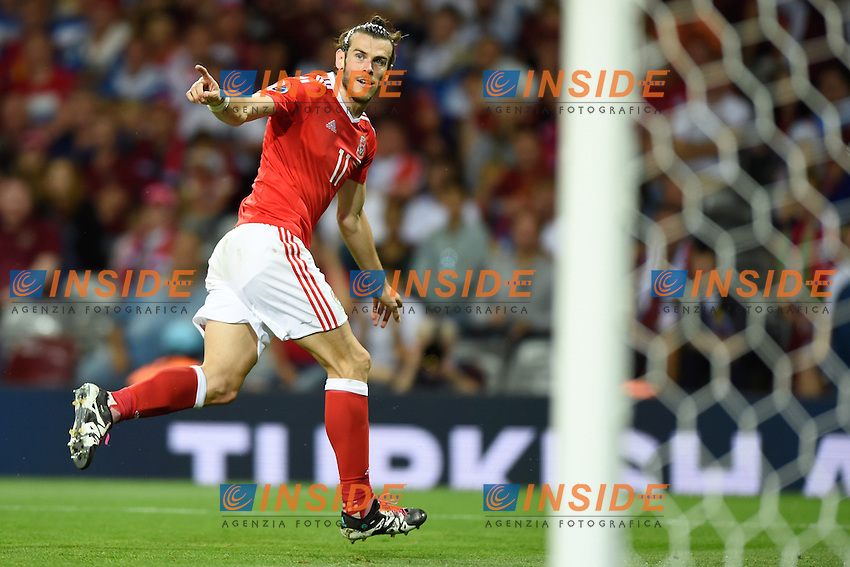 Esultanza Gol Gareth Bale (wal) <br /> Toulouse 20-06-2016 Stade de Toulouse Football Euro2016 Russia - Wales / Russia - Galles Group Stage Group B. Foto Thierry Breton / Panoramic / Insidefoto