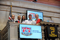 Stefhan Jekel, managing director of EMEA, U.S. Soccer President Sunil Gulati, USWNT midfielder Carli Lloyd, former U.S. Men's National Team star Jeff Agoos, and New York Red Bulls general manager Jerome de Bontin pose for a photo during the centennial celebration of U. S. Soccer at the New York Stock Exchange in New York, NY, on April 02, 2013.