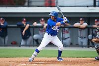 Jose Martinez (2) of the Burlington Royals at bat against the Danville Braves at Burlington Athletic Park on July 12, 2015 in Burlington, North Carolina.  The Royals defeated the Braves 9-3. (Brian Westerholt/Four Seam Images)