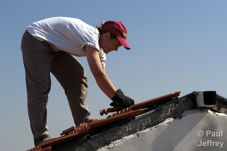 Tammi Mott, a United Methodist from Unadilla, New York, spends a summer vacation helping rebuild a home in the West Bank town of Anata that the Israeli military demolished four times. Mott works for Church World Service.