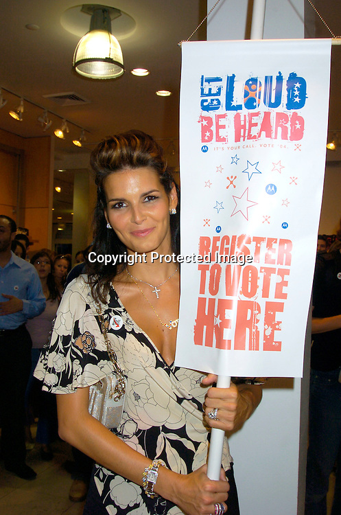"Angie Harmon ..at The French Connection  and Rock The Vote for a ""Fcuk You, I'm Voting Party on August 31, 2004 in New York City. ..Photo by Robin Platzer, Twin Images"