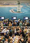 14012017,  Nederland, Wijk aan Zee, Tata Steel Chess tounament<br />  foto Michael Kooren<br /> Noorse superster van het mondiale schaken, Magnus Carlsen,  speelt in Wijk aan Zee voor de 13e keer.<br /> Overzicht van de speelzaal waar amateurs and professionals in &eacute;en ruimte spelen.