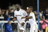 San Jose, CA - Saturday June 09, 2018: Adama Diomande, Latif Blessing during a Major League Soccer (MLS) match between the San Jose Earthquakes and Los Angeles Football Club at Avaya Stadium.