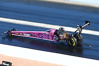 Oct 31, 2015; Las Vegas, NV, USA; NHRA top fuel driver Antron Brown during qualifying for the Toyota Nationals at The Strip at Las Vegas Motor Speedway. Mandatory Credit: Mark J. Rebilas-USA TODAY Sports