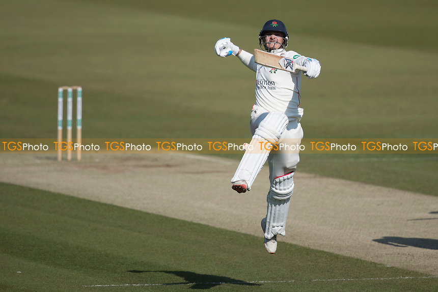 Jumping for joy - Rob Jones of Lancashire CCC celebrates his century during Middlesex CCC vs Lancashire CCC, Specsavers County Championship Division 2 Cricket at Lord's Cricket Ground on 13th April 2019