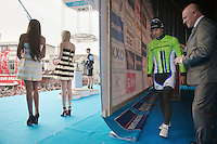 Peter Sagan (SVK/Cannondale) about to step on stage to confront the crowd as the race winner<br /> <br /> 57th E3 Harelbeke 2014