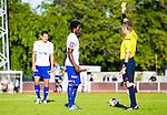 Uppsala 2014-06-26 Fotboll Superettan IK Sirius - IFK V&auml;rnamo :  <br /> V&auml;rnamos Benjamin Fadi f&aring;r en varning av domare Lars Olsson i den f&ouml;rsta halvleken<br /> (Foto: Kenta J&ouml;nsson) Nyckelord:  Superettan Sirius IKS Studenternas IFK V&auml;rnamo varning gult kort