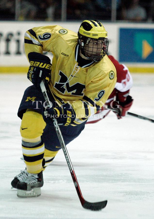25 Nov 2005: Michigan forward Andrew Cogliano (9) during No. 2 Wisconsin's College Hockey Showcase match vs No. 1 Michigan at Yost Ice Arena in Ann Arbor, MI. The Badgers won 3-2.