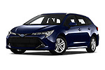 Stock pictures of low aggressive front three quarter view of a 2019 Toyota Corolla Touring Sports Dynamic 5 Door Wagon