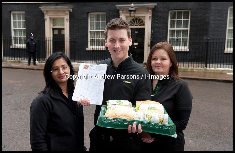 L to R Rachana Pancholi from Derbyshire and Leicestershire and Maureen Hibbens ® joins subway owner David Cameron to deliver a petition to Downing Street from Subway, Tuesday January 22, 2013. Photo: Andrew Parsons / i-Images