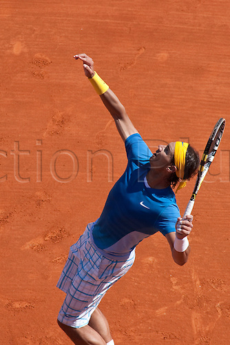 MONTE CARLO, MONACO. 14/04/2010 Rafael Nadal (ESP) in action during the second round match between  at the ATP Monte Carlo Masters tennis tournament held in the Monte Carlo Country Club, Monaco, between from the 12th to the 18th April. .