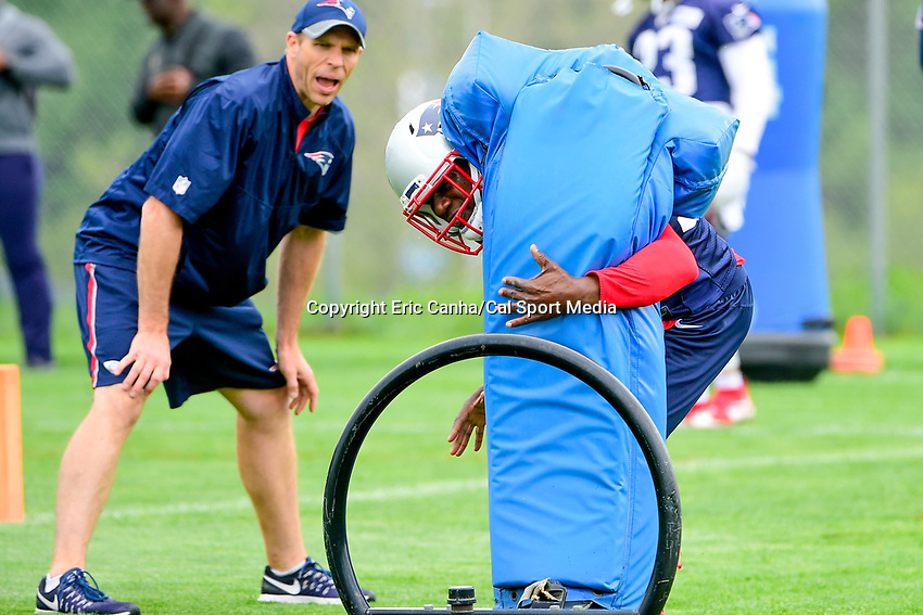 June 7, 2017: New England Patriots defensive back Duron Harmon (30) works with a tackle dummy at the New England Patriots mini camp held on the practice field at Gillette Stadium, in Foxborough, Massachusetts. Eric Canha/CSM