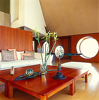 Porthole windows are a feature of the modern living area