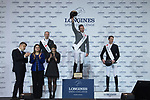 Philipp Weishaupt of Germany riding Chacon celebrates winning with the second placed Patrice Delaveau of France riding Vestale de Mazure Hdc and the third placed Kevin Staut of France riding Ayade de Septon et HDC in the Longines Speed Challenge during the Longines Masters of Hong Kong at AsiaWorld-Expo on 10 February 2018, in Hong Kong, Hong Kong. Photo by Diego Gonzalez / Power Sport Images