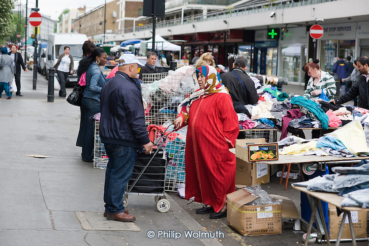 Clothes stall at Church Street market, West London.
