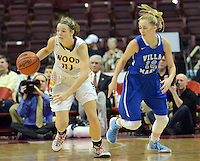 Archbishop Wood's Bailey Greenberg #21 picks off a pass to Villa Maria's Sarah Agnello #13 in the second quarter of the girls basketball PIAA Class AAA state championship game Saturday March 19, 2016 at the Giant Center in Hershey, Pennsylvania (Photo By William Thomas Cain)