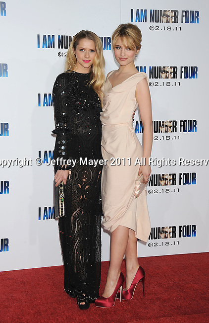 "WESTWOOD, CA - February 09: Teresa Palmer and Dianna Agron arrive at the ""I Am Number Four"" Los Angeles premiere at Mann's Village Theatre on February 9, 2011 in Westwood, California."