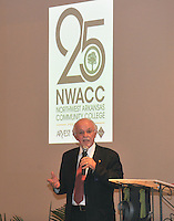 NWA Democrat-Gazette/MICHAEL WOODS &bull; @NWAMICHAELW<br /> Founding trustee Dick Trammel speaks during a reception to commemorate the 25th year of Northwest Arkansas Community College Thursday September 17, 2015 at the Avondale Chapel and Gardens in Bentonville.  Guests at the reception included current and former trustees, elected officials and longtime college faculty and staff members. College President Evelyn Jorgenson, board chairman Ric Clifford and former trustee and current NWACC Foundation Board member Dick Trammel will spoke during the event Guests also had a chance to see memorabilia and artifacts from the college&rsquo;s early years.