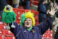 A happy Norwich fan celebrates the goal scored by James Maddison of Norwich City during Bristol City vs Norwich City, Sky Bet EFL Championship Football at Ashton Gate on 13th January 2018