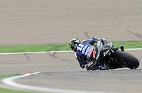 English rider Ben Spies taking a corkscrew at Grand Premio Iveco de Aragón 2012