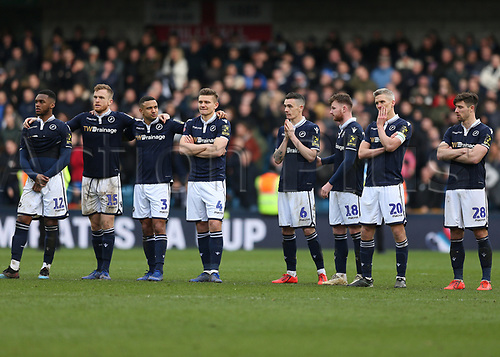17th March 2019, The Den, London, England; The Emirates FA Cup, quarter final, Millwall versus Brighton and Hove Albion; Mahlon Romeo, Alex Pearce, James Meredith, Shaun Hutchinson, Shaun Williams, Ryan Tunnicliffe, Steve Morison, Ryan Leonard of Millwall all line up waiting to take penalties