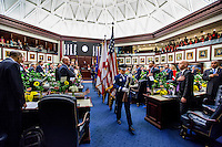 TALLAHASSEE, FLA. 1/12/16-A joint services color guard retires the colors during the opening day ceremonies in the House of Representatives at the Capitol in Tallahassee. <br /> <br /> COLIN HACKLEY PHOTO