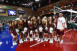 March 5, 2015; Las Vegas, NV, USA; Loyola Marymount Lions cheerleaders pose for a photo against the Pepperdine Waves before the game of the WCC Basketball Championships at Orleans Arena.