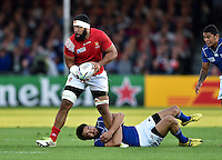 Vili Ma'afu of Tonga is tackled by Danie Van Wyk of Namibia. Rugby World Cup Pool C match between Tonga and Namibia on September 29, 2015 at Sandy Park in Exeter, England. Photo by: Patrick Khachfe / Onside Images