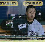 Hiroki Kuroda (Yankees),.MAY 12, 2013 - MLB :.Hiroki Kuroda of the New York Yankees looks dejected in the dugout after being pulled in the eighth inning during the baseball game against the Kansas City Royals at Kauffman Stadium in Kansas City, Missouri, United States. (Photo by AFLO)