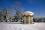Gazebo decorated for Christmas on the grounds of the Camden Public Library in Camden, Maine, USA