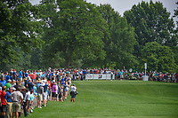Jason Day (AUS) and Tiger Woods (USA) on the 12th tee box with a packed gallery during 1st round of the World Golf Championships - Bridgestone Invitational, at the Firestone Country Club, Akron, Ohio. 8/2/2018.<br /> Picture: Golffile | Ken Murray<br /> <br /> <br /> All photo usage must carry mandatory copyright credit (&copy; Golffile | Ken Murray)