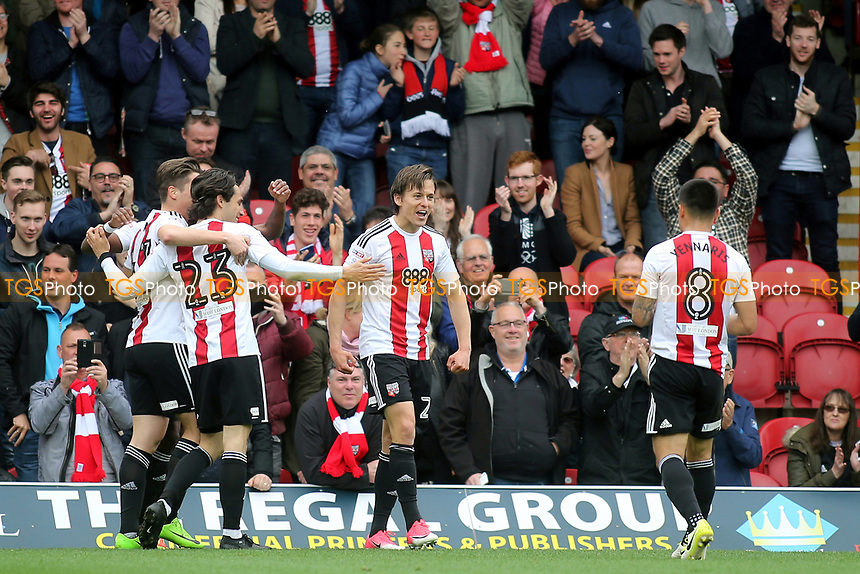 Lasse Vibe celebrates scoring Brentford's opening goal during Brentford vs Derby County, Sky Bet EFL Championship Football at Griffin Park on 14th April 2017