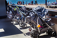 Baby stroller parking, because strollers and sandy beaches really do not go together.  Alameda's  Crown Beach after the 2017 Sand Castle Contest.