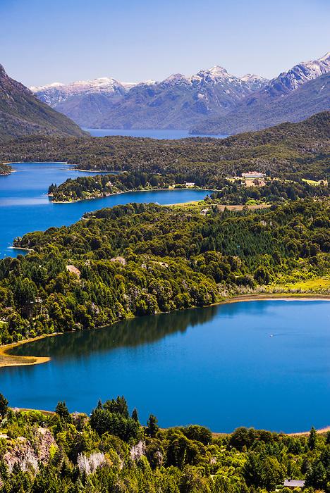 Llao Llao Hotel and Andes Mountains seen from Cerro Campanario (Campanario Hill), San Carlos de Bariloche, Rio Negro Province, Patagonia, Argentina