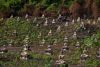 A field of thousands of Buddha statues near Hpa An, Myanmar Burma