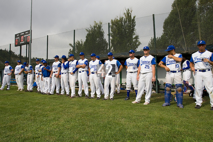 BASEBALL - EUROPEAN UNDER -21 CHAMPIONSHIP - PAMPELUNE (ESP) - 03 TO 07/09/2008 - PHOTO : CHRISTOPHE ELISE.FRANCE VS GERMANY (WINNER 8-6) -  TEAM FRANCE