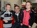 Alex and Anastasia O'Rooney pictured with LEINSTER & IRELAND Out Half  Ian Madigan when he visited Jack Doran Motors. Photo:Colin Bell/pressphotos.ie