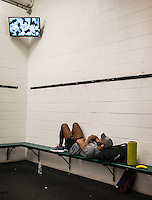 Jordan Burroughs of the United States (cq) in the locker room before the final round of the Pan American Championships at Dr. Pepper Arena in Frisco, Texas, Saturday, Saturday 27, 2015. Burroughs eventually won gold at the event.<br /> <br /> Photo by Matt Nager