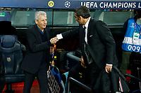 27th November 2019; Camp Nou, Barcelona, Catalonia, Spain; UEFA Champions League Football, Barcelona versus Borussia Dortmund;  Ernesto Valverde and Luien Favre hand shake - Editorial Use