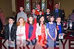 Scoil an Fheirtéaraigh pupils Muiris Ó Loinsigh, Deirdre Lailéis, Liobhan Ní Mhaolchatha, Keely Ní Lúing, Caoimhe Mae Ní Chéilleachair, Ciaran Mac Gearailt, (back) Darragh Ó Dubhain, Dara May, Tomas Ó hUallachain and Oscar Daibhís the day of their Confirmation with their muintoir Cian MacGearailt and Canon Tomas Ó Luanaigh at Séipel Naomh Uiseann, Baile 'n Fheiréaraigh, on Tuesday afternoon..