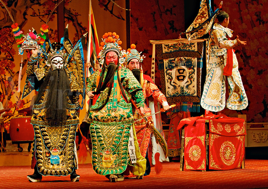 Traditional Sichuan Opera story, Three Heroes fighting Lu Bu, based on the turbulent Three Kingdoms era of Chinese warlord history in the 3rd century.