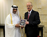 Palestinian Prime Minister Rami Hamdallah meets with a head of the Qatar Football Association, Sheikh Hamad bin Khalifa bin Ahmed Al Thani in the West Bank city of Ramallah on March 11, 2018. Photo by Prime Minister Office